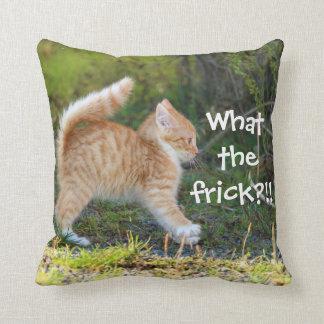 Badass Cats - What the frick? Throw Cushion