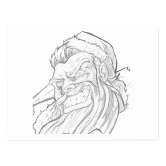 Badass Santa Claus with an evil smile Post Cards