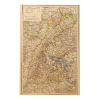 Baden Germany Atlas Map Wood Canvases