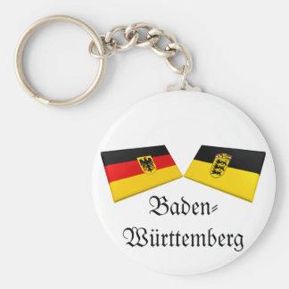 Baden-Wuerttemberg, Germany Flag Tiles Basic Round Button Key Ring
