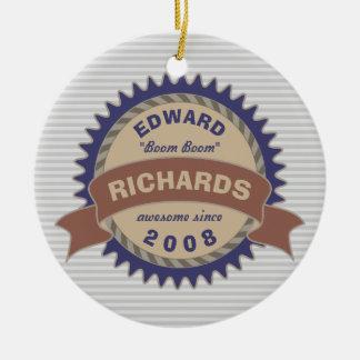 Badge Banner Monogram Brown Blue Logo Gray Stripes Christmas Ornament