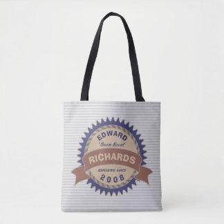 Badge Banner Monogram Brown Blue Logo Gray Stripes Tote Bag