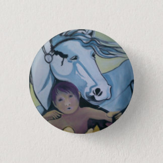 Badge: Cupid and his horse. 3 Cm Round Badge