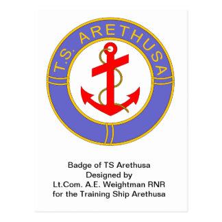 Badge of TS Arethusa Postcard