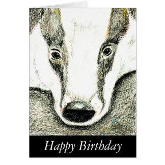 Badger birthday card (JZH2)