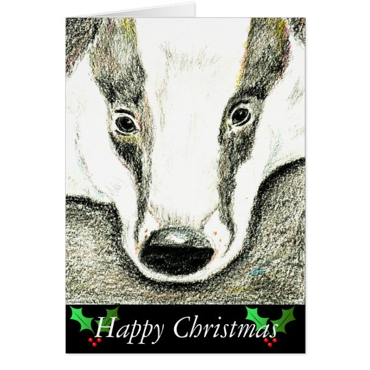 Badger Christmas card (JZH10)