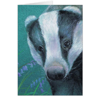 Badger fine art painting everyday card