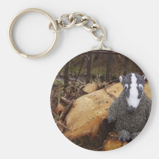 Badger in the Woods Key Ring