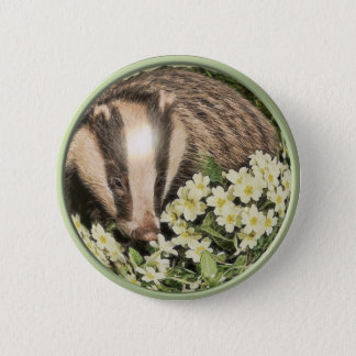 Badger on the Primrose Bank 6 Cm Round Badge