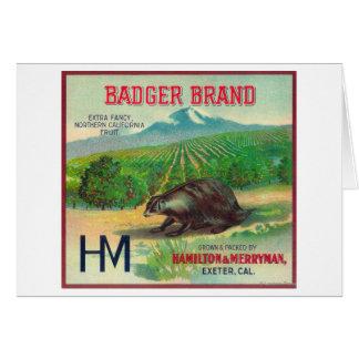 Badger Orange LabelExeter, CA Card