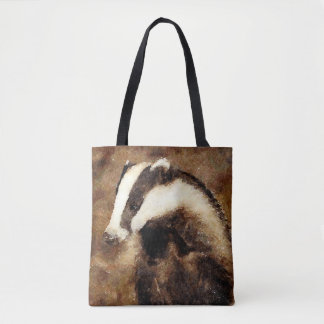 Badger print tote bag, watercolour badger