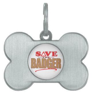 Badger Save Pet Name Tag
