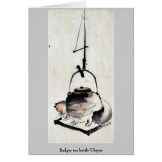 Badger tea kettle Ukiyoe Card