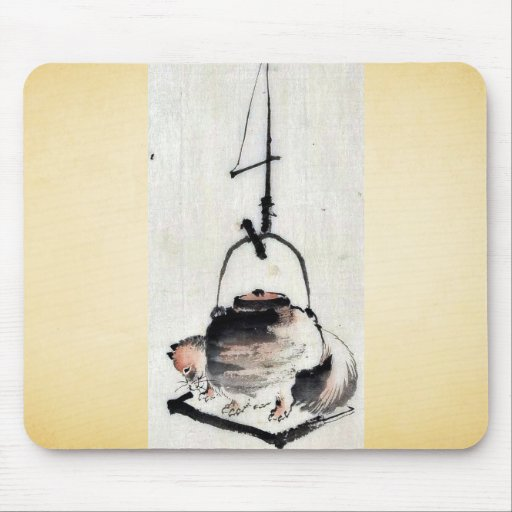 Badger tea kettle Ukiyoe Mousepad
