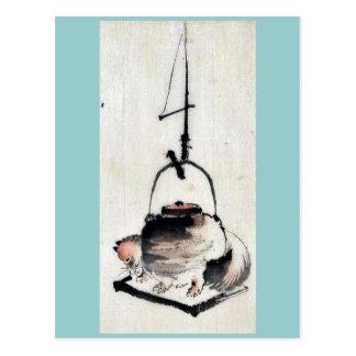 Badger tea kettle Ukiyoe Postcard