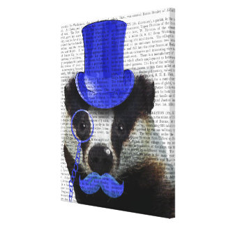 Badger with Blue Top Hat and Moustache Canvas Print