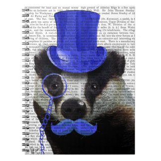 Badger with Blue Top Hat and Moustache Notebooks