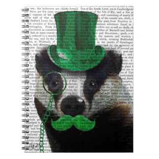 Badger with Green Top Hat and Moustache Notebooks