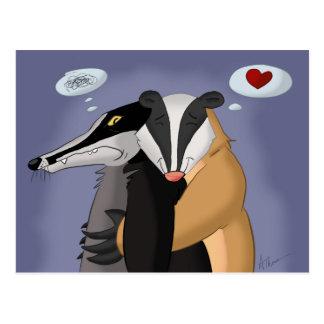 Badgers in Love Postcard