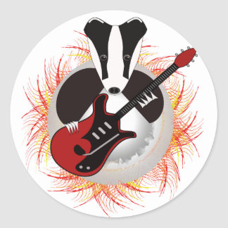 Badgers rock save the badger classic round sticker