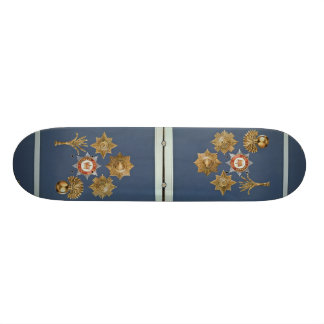 Badges from the Guards Division and the Five Foot Custom Skate Board