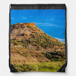 Badland Formations In Short Grass Prairie Drawstring Bag