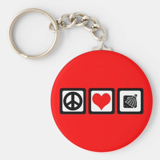 Badminton Basic Round Button Key Ring