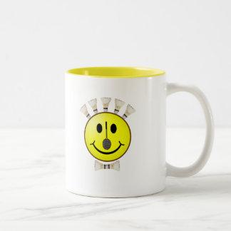 Badminton Bowtie Smiley Two-Tone Coffee Mug