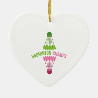 Badminton Champs Ceramic Heart Decoration