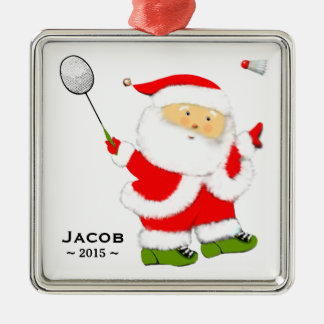 badminton Christmas holiday gift Silver-Colored Square Decoration