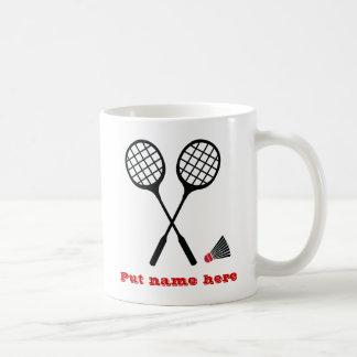 Badminton gifts, racquet and shuttlecock custom basic white mug