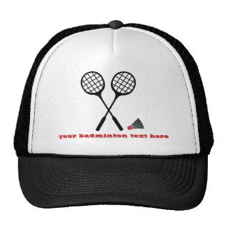 Badminton gifts, racquet and shuttlecock custom cap