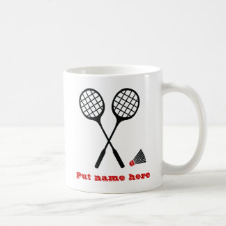 Badminton gifts, racquet and shuttlecock custom coffee mug