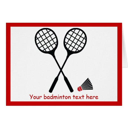 Badminton gifts, racquet and shuttlecock custom gi cards