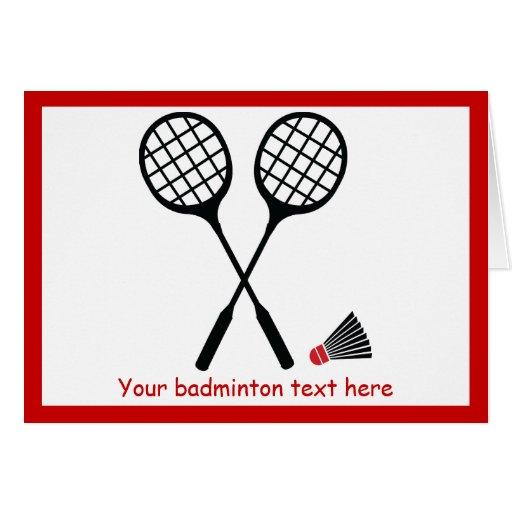 Badminton gifts, racquet and shuttlecock custom gi cards