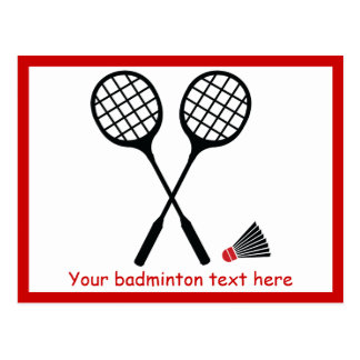 Badminton gifts, racquet and shuttlecock custom postcard