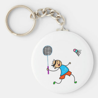 Badminton Kid Basic Round Button Key Ring