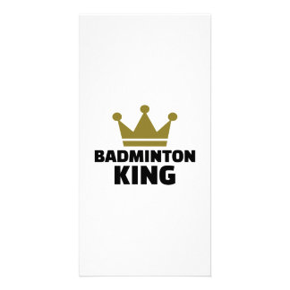 Badminton king champion photo card template