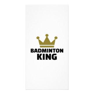 Badminton king champion photo card template