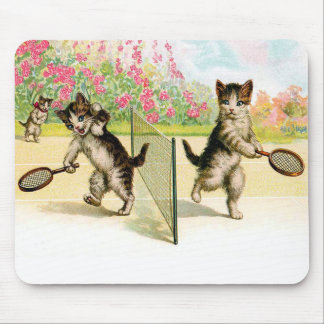 Badminton Kittens Vintage Art Mouse Mat