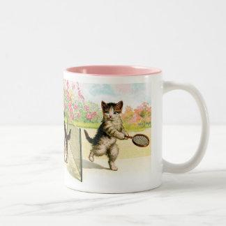 Badminton Kittens Vintage Art Two-Tone Coffee Mug