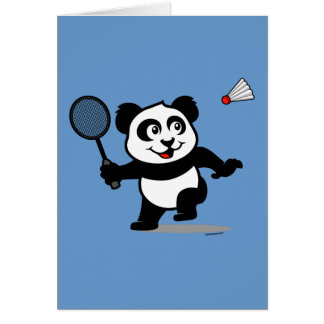Badminton Panda Greeting Card