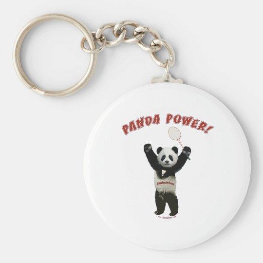 Badminton Panda Power Basic Round Button Key Ring