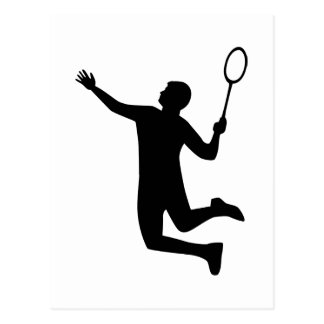 Badminton player jump postcard