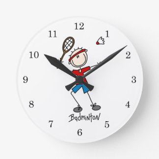 Badminton Player T-shirts and Gifts Round Clock