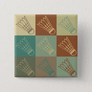 Badminton Pop Art 15 Cm Square Badge