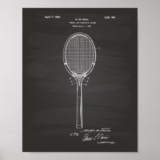 Badminton Racket 1925 Patent Art Chalkboard Poster