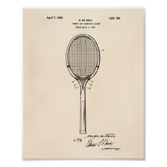 Badminton Racket 1925 Patent Art Old Peper Poster