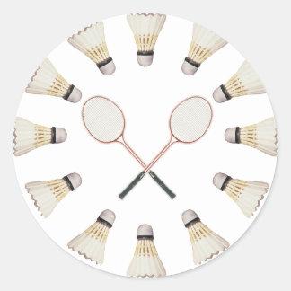 Badminton Rackets Classic Round Sticker