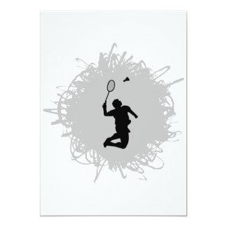 Badminton Scribble Style 13 Cm X 18 Cm Invitation Card